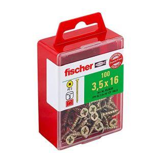 Fischer 653930 Power-Fast Lot de 100 Vis à tête fraisée 3,5 x 16 mm VG PZ galvanisée Jaune