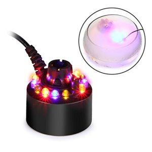 FITNATE Appareil à fumée ultrasonique – Changement de couleur – 12 LED – Pour fontaine, étang – Humidificateur d'air – Pour Halloween, fête