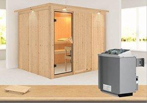 Gobin karibu-sauna avec poêle 9 kW avec dachkranz –