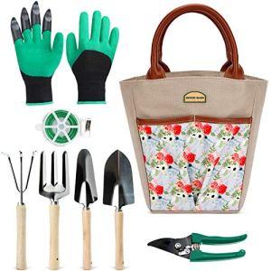 Good Gain, ensemble d'outils de jardinage 9 pièces avec sac de rangement, outils de plantation robustes, gants de pelleteuse, fil de reliure et sécateur