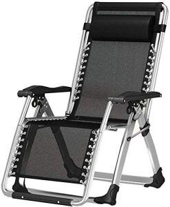 Gravity ajustable pliable pelouse chaise longue chaise longue chaise longue, avec des oreillers, disponible pour cour arrière et plages au bord de la piscine,Black