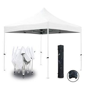 GREADEN Tente Pliante Blanche 3x3m ECO Tube 25mm en Acier Bâche 220g/m² Enduit PVC 100% ÉTANCHE Pavillon Jardin Tonnelle réception, Sac de Transport