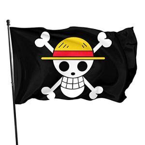 Hdadwy Creative One Piece Logo Drapeaux Extérieurs Drapeaux De Jardin À La Maison Drapeaux Décoratifs 3×5 Ft Noir