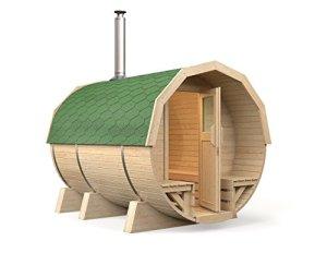 Isidor M2 Premium Sauna en tonneau 2,96 m avec poêle à bois Harvia M3, bois de tremble pour tous les bancs intérieurs grüne Dachschindeln