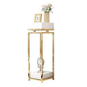 JenLn Moderne Jardinière, Métal Floral Support for Mariage Socle, Simple Pilier Centerpieces Carré Design for Vases (Color : Gold, Size : 35x35x90cm)
