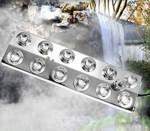 Kacsoo Brumisateur Ultrasonique 12 Têtes Sortie De Brume 6kg / h Transformateur DC Niveau d'eau De Travail 60-80mm pour Bassin De Fontaine d'eau Rockery Fishtank Vase Birdbath Garden Lawn Pond Use