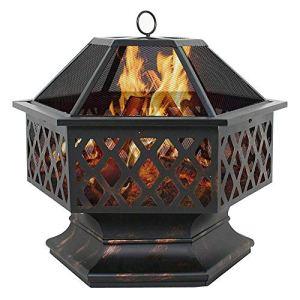 KDMB Poêle de cheminée de Conception hexagonale de Foyer en métal portatif, avec Le Bois de poêle de cheminée de Couverture d'écran de Maille, pour Le Patio de feu de Camp de Pique-Nique