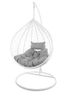 Kideo – Ensemble complet – Grand fauteuil suspendu – Avec armature et coussins – TailleXXL – Pour l'intérieur et l'extérieur – En résine tressée