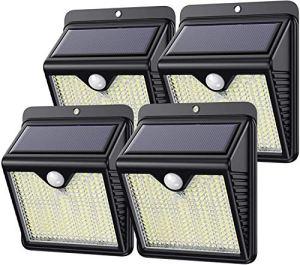 Lampe Solaire Exterieur, Kilponen 250LED éclairage Solaire Extérieur avec Détecteur de Mouvement étanche Applique Murale Sans Fil pour Jardin Extérieur, 4 Packs