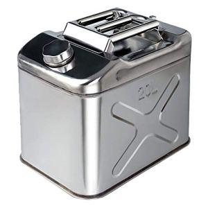 LHL-DD Bidon de Carburant de 20 litres pour Moto, réservoir d'essence en Acier Inoxydable avec Bec verseur, Grande capacité, Antistatique, Anti-déversement