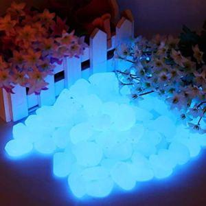 Lot de 200 pierres lumineuses bleues – 200 pièces – Pierres décoratives pour le jardin, les routes, la décoration en plein air, les aquariums, les allées