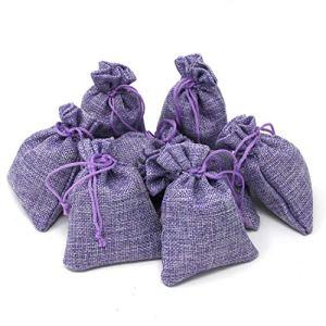 Lot de 8 sachets de lavande en lin – Parfumés de 15 g (120 g au total) – Lavande française véritable anti-mites – Sac en lin violet rempli de fleurs de lavande provenant de France