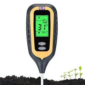 Morthan Testeur de Sol 4-en-1, Soil Tester, Capteur d'humidité, lumière, température, Testeur de pH acidité, pour Plantes (avec Garantie)