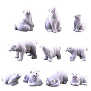 NaiCasy Polar Bear Carving Set décoration, décoration Ensemble Famille des Animaux de l'Arctique, 10 Jouets pour Animaux d'éducation et de Cadeaux pour Enfants