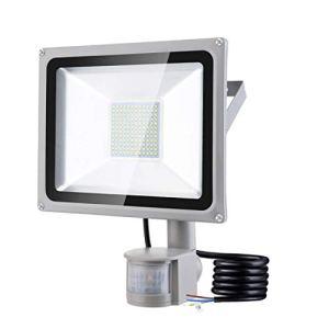 Projecteur 100W Exterieur détecteur de Mouvement 10000LM 6500K Blanc froid Spot à LED Extérieur Lampe de sécurité Etanche IP65 pour Jardin Garages Balcon [Classe énergétique A+]