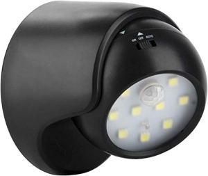Proxinova™ Détecteur de Mouvement Fulcrum Lumineux intérieur/extérieur Lampe de sécurité sans Fil LED Porche lumière/Spotlight – Auto on/Off, Fonctionnement par Batterie à Pile (Noir)