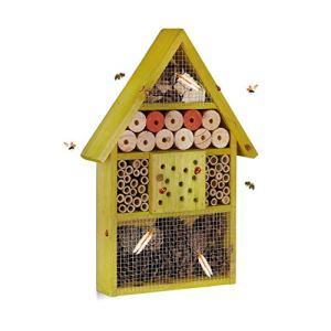 Relaxdays, vert Hôtel à insectes maison à papillon bois jardin balcon abeilles HxlxP: 40 x 27,5 x 7 cm, 7 x 27,5 x 40 cm