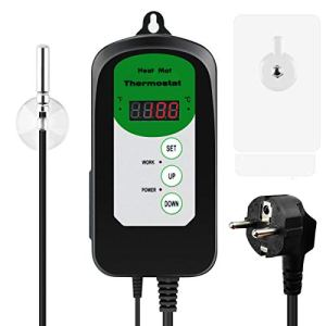 RIOGOO Contrôleur de Thermostat Digital Heat Mat pour la Germination des graines, Les Reptiles et Le Brassage 68-108 ° F