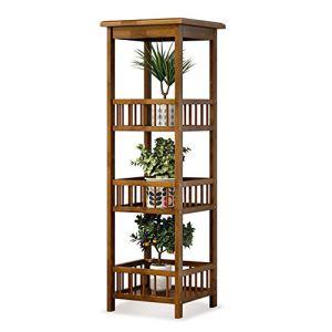 ROGF Supports de Pots Utilitaire Support de Rangement Multi-usages Livres Cadres Photo étagères 4 Niveau Fleur Rack Usine Stand Bamboo Shelf pour Le Salon et Le Jardin