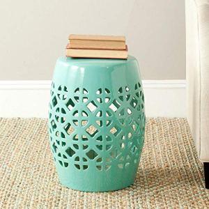 Safavieh Circle Lattice Ceramic Garden Stool, Robin's Egg Blue