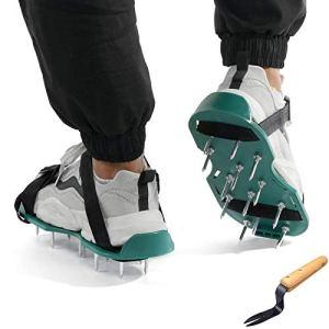 Sarazong Chaussures Gonflables De Pelouse avec Fourche, Aérateur De Jardin De Sol en Vrac 2 Bretelles Réglables, Outils De Jardin De Jardin De Cultivateur