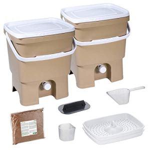 Skaza Bokashi Organko Set (2 x 16 L) Composteur 2X pour Jardin et Cuisine en Plastique Recyclé   Kit de démarrage avec Activateur de Fermentation Bokashi Organko 1 kg (Cappuccino-Blanc)
