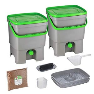 Skaza Bokashi Organko Set (2 x 16 L) Composteur 2X pour Jardin et Cuisine en Plastique Recyclé   Kit de démarrage avec Activateur de Fermentation Bokashi Organko 1 kg (Gris-Vert)