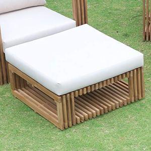 Teako Design Loppio Ottomane Tabouret de jardin en bois massif non traité résistant aux intempéries