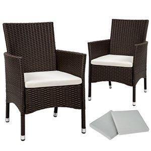 TecTake 2x Chaise de jardin en poly rotin résine tressé + coussin + deux set de housses + vis en acier inoxydable – diverses couleurs au choix – (Marron antique | No. 402124)