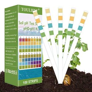 Testeur de Sol,Soil Test Kit,pH Soil Test Kit,Kit de Tests pH pour Analyse des Sols (0-14) pour des Fleurs, Une Pelouse, des Plantes, des Légumes(100 Bandes)