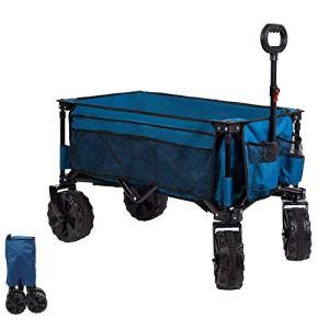 Timber Ridge Chariot de Jardin Pliante Remorque Transport Pliable Charrette à bras pour Plage Camping Tout Terrain Pied Grand Bleu