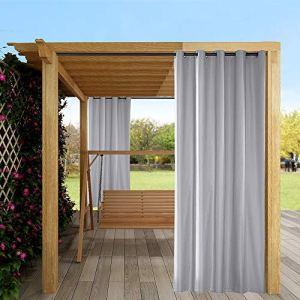 Topchances Rideau de porte occultant et imperméable pour extérieur, jardin, terrasse, tonnelle avec œillets pour porte coulissante, 2 panneaux (gris, 137,2 x 274,3 cm)