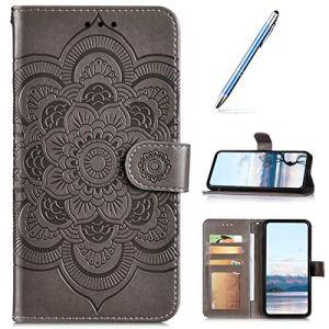 Urfeda Étui en cuir PU compatible avec Xiaomi Redmi Note 9 Pro Étui portefeuille 3D Motif tournesol Mandala Couverture magnétique antichoc Béquille Folio Flip Note Book Style Phone Cover Gris