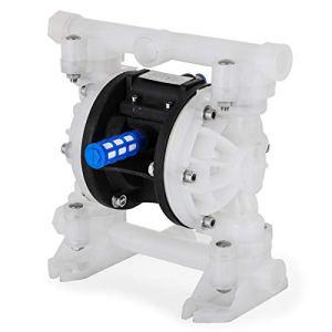VEVOR Double Pompe à Diaphragme d'air 7 GPM avec Entrée et Sortie de 1/2 Pouces Air de Pompe à Membrane Materiau du Corps en Polypropylène Diaphragme en Nitrile Utilisé dans l'Industrie Minière, etc.