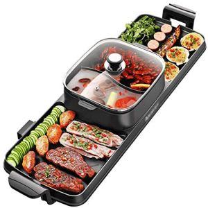 WANBAO Fournitures de Cuisine BBQ Chaud Pot/Twoinone/SmokeFree/DoubleControls/Barbecue électrique/Le Gril intérieur Non escamène, 315 People