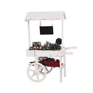Yaunli Stand de Fleurs Rustique Usine en Bois Support Panier Fleur avec Cadre Tableau Noir Décoration Stand de Fleur de Jardin en métal (Couleur : White, Size : 119cmx79cmx56cm)