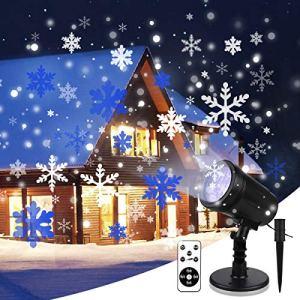 Yinuo Mirror Projecteur Noel Exterieur, Projecteur Led de Neige Lamps de Projection avec Télécommande, Etanche IP65, Décoration pour Fêtes, Intérieur, Mariage,Soirée, Jardin