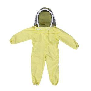 Zerodis Enfants Apicole Costume avec Voile de Protection Professionnel Jumpsuit Abeille Visiteur Coton à Manches Longues M L- Jaune (M)