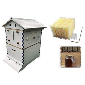 ZJDU Cadres Automatiques De Ruche De Ruche De Miel + Boîtes De Ruche De Maison en Bois D'apiculture -Bee Hive House Brood Beehive Box,7Pcs Peigne De Cadre De Ruche Automatique