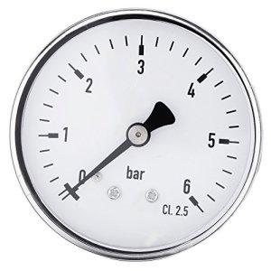 1Pcs 0-6 bar 1/4″fil NPT Manomètre à Haute Précision, Mini Manomètre pour Fuel Air Huile Liquide Eau