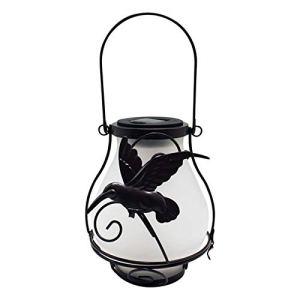 58bh Lanterne solaire en métal et verre à LED – Lanterne à suspendre – Flamme vacillante réaliste – S'allume et s'éteint automatiquement – Lampes décoratives pour la maison, le jardin ou l'extérieur