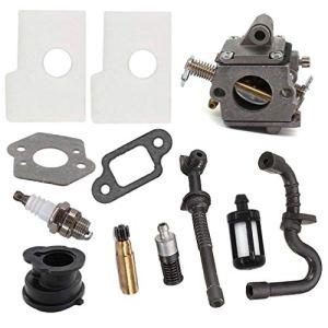 AISEN Kit de carburateur pour tronçonneuse Stihl 017 018 MS170 MS180 avec filtre à air à essence, tuyau d'huile, filtre, bougie d'allumage, collecteur d'admission, pompe à huile Zama C1Q-S57A