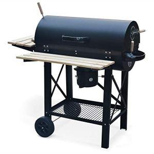 Alice's Garden Barbecue américain Charbon de Bois – Serge Noir – Smoker américain avec aérateurs, récupérateur de Cendres, fumoir