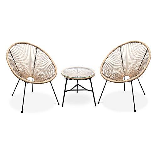Alice's Garden Lot de 2 fauteuils Acapulco Forme d'oeuf avec Table d'appoint – Naturel – Fauteuils 4 Pieds Design rétro, avec Table Basse, Cordage Plastique, intérieur/extérieur