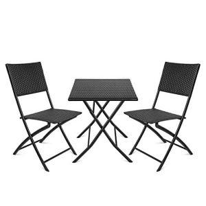 amzdeal Salon de Jardin Résine Tressé 2 Chaises et 1 Table de Thé Pliable Mobilier Extérieur de Jardin Noir