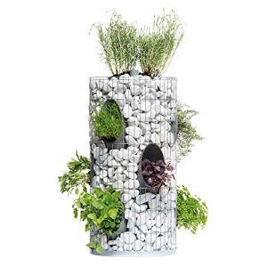 bellissa tour aromatique en gabion – 95620 – cage à pierres pour 10 plantes différentes, avec tube d'arrosage intégré et film de séparation – diamètre 40 cm, hauteur 80 cm