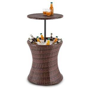 blumfeldt Beerboy – Table de Jardin avec bassine à glaçons pour Boissons fraiches (Hauteur réglable Entre 56 et 97cm) rotin synthétique