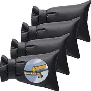 Boao 4 Pièces Couverture de Robinet Extérieure d'Hiver 8.7 x 7 Pouce Chaussette de Robinet Extérieur Couvercle du Robinet Antigel pour Protection Contre Le Gel d'Hiver Robinet d'eau Mur (Noir)
