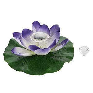 cersalt Lotuss Light, Lampe à Fleur de Lotuss à Changement de Couleur à LED, lumière d'étang Solaire Lotuss(Colorful Purple)