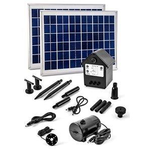 CLGarden NASP3Z Pompe solaire avec fontaine rechargeable batterie Ensemble 20W LED de bassin 12V